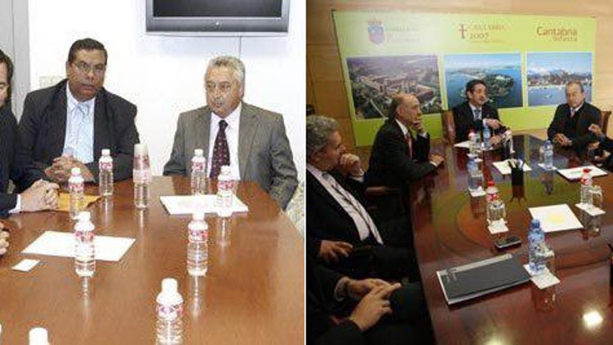 Reunión de los promotores de la Ciudad del Cine de Cantabria con miembros del Gobierno. | ARCHIVO