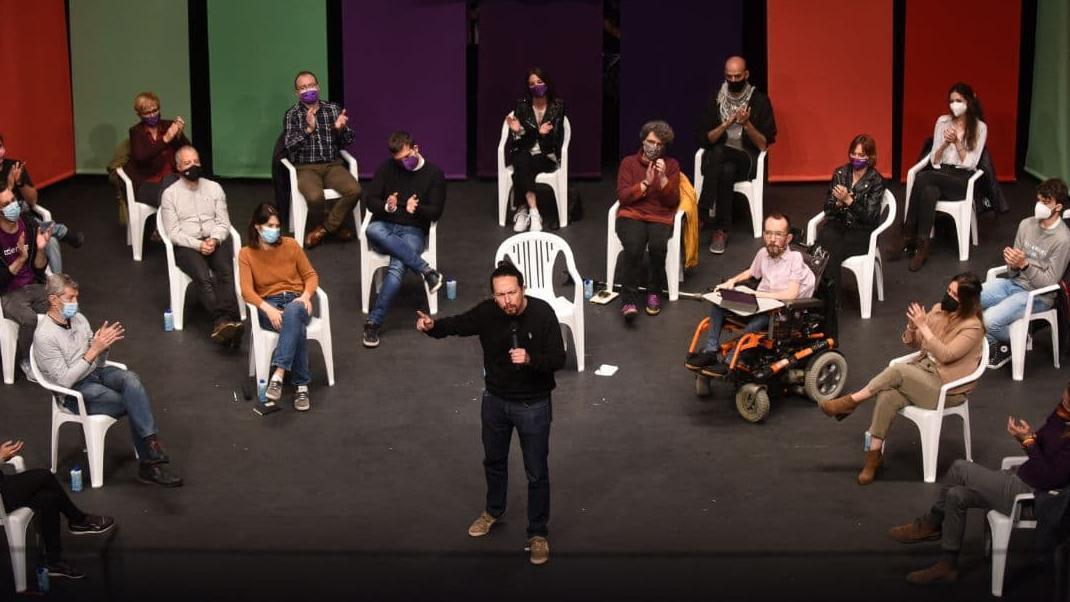 El candidato de Unidas Podemos el 4M, Pablo Iglesias, durante el acto de este jueves en Leganés (Madrid).