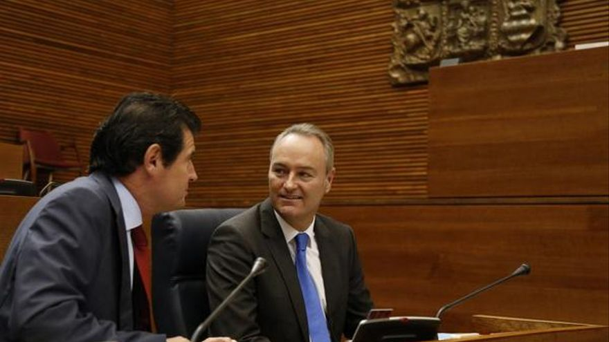 El president Fabra junto al vicepresidente José Císcar en Les Corts