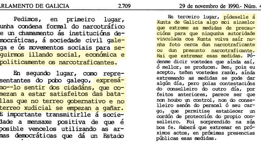 Fragmentos de la intervención de Príncipe en nombre del PSdeG en defensa de la moción contra el narcotráfico