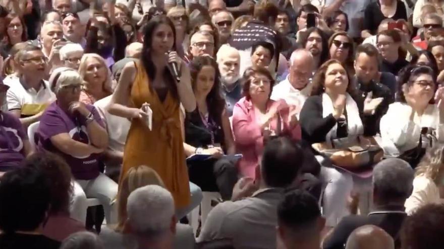 Irene Montero, durante el acto celebrado en Gran Canaria