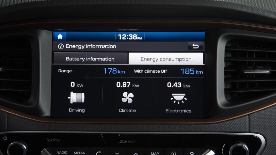 Ordenador de a bordo del Hyundai Ioniq eléctrico.