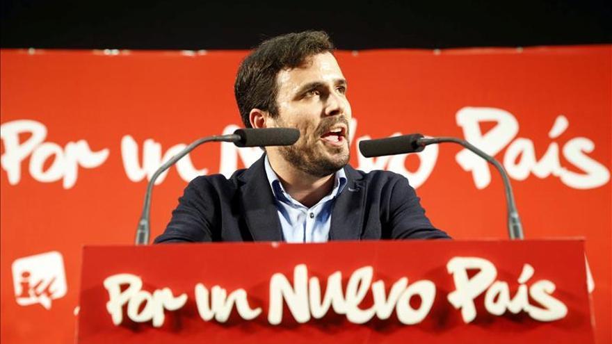 Alberto Garzón, en el cierre de campaña en Getafe (Madrid). / Efe
