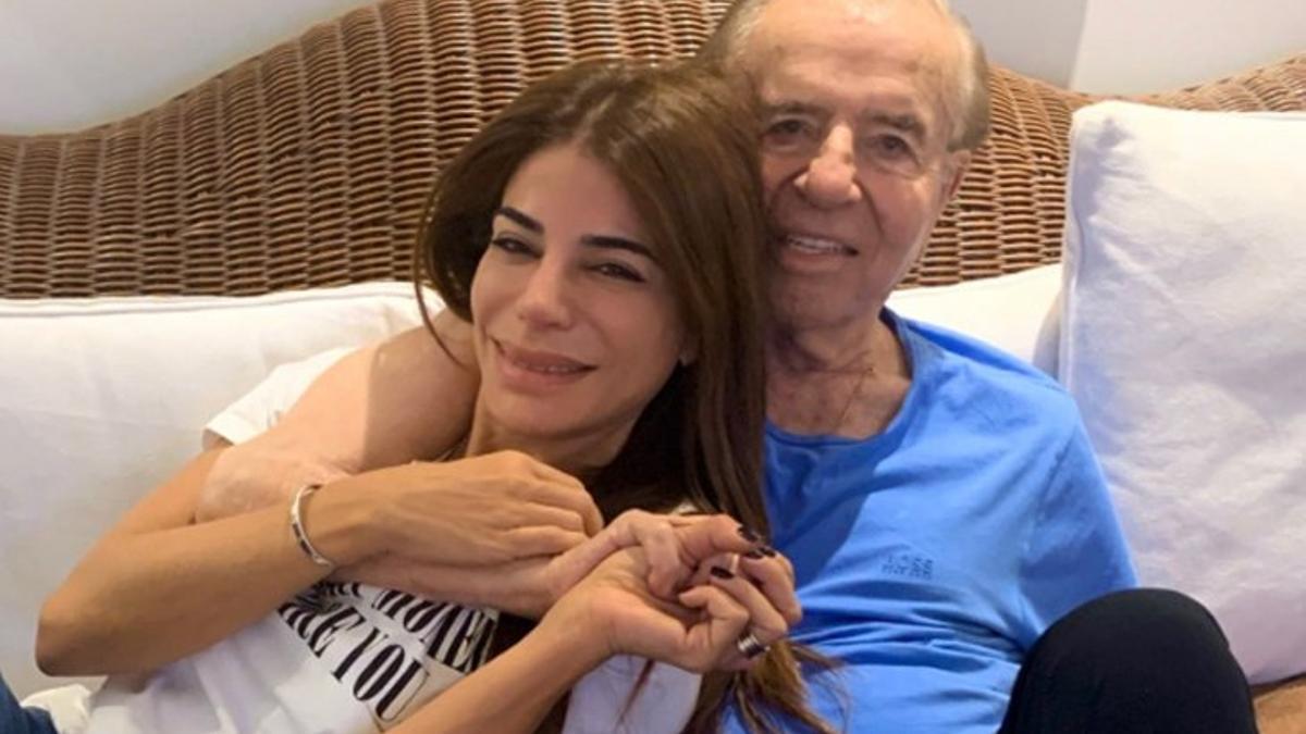 Zulemita, junto a su padre, Carlos Menem, fallecido en febrero último.