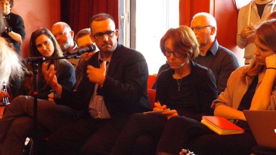 Intervención del periodista Luís Martín durante el acto de presentación de @Diem25