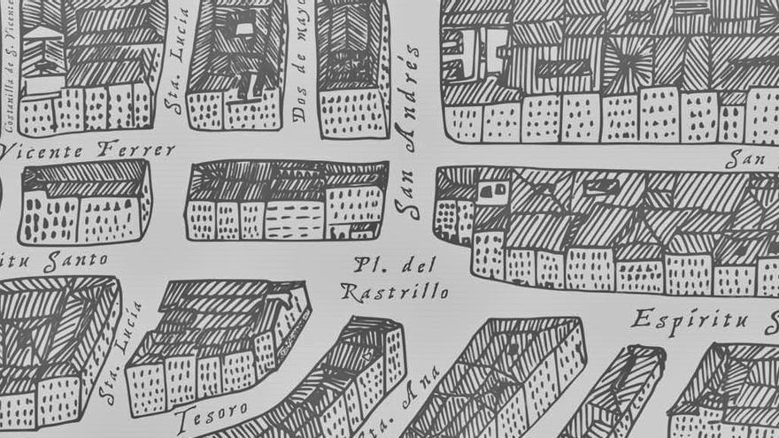 Un detalle del Mapa Ilustrado de Malasaña, que recoge el nombre popular de la Plaza de Juan Pujol, como Plaza del Rastrillo   RAQUEL ANGULO
