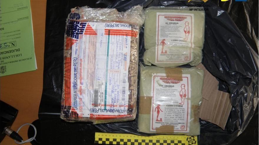 El destino del paquete era el municipio de Puntagorda de la Isla de La Palma. Foto: Guardia Civil.