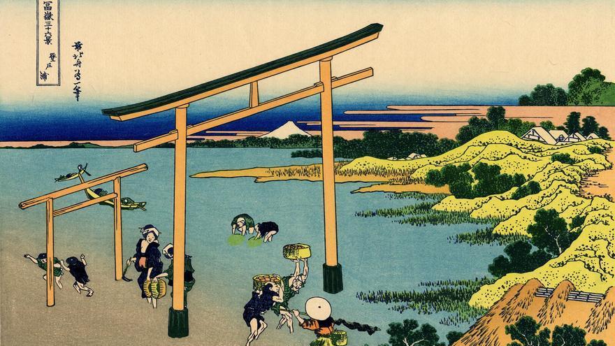 'Bahía de Noboto', grabado nº 23 de 'Treinta y seis vistas sobre el monte Fuji'