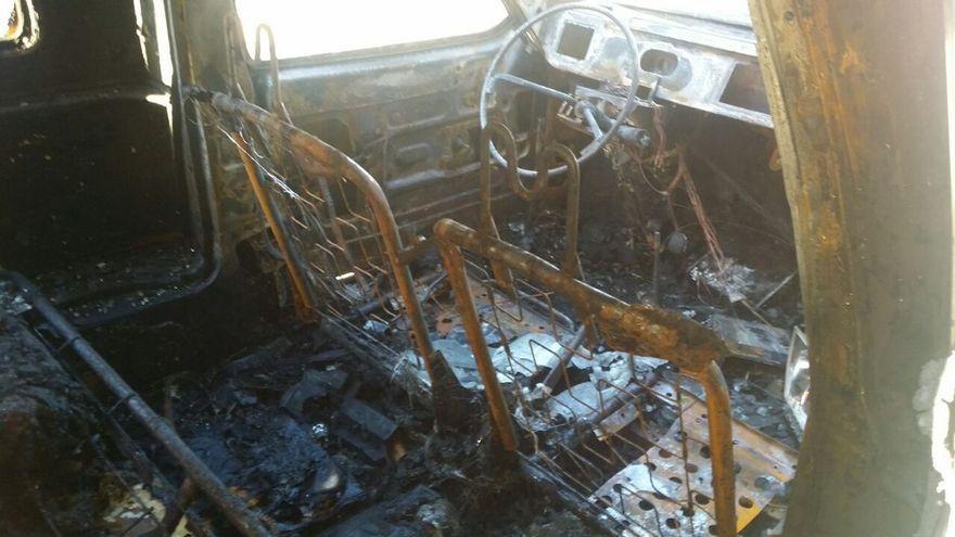 Interior calcinado del coche de Gassiot