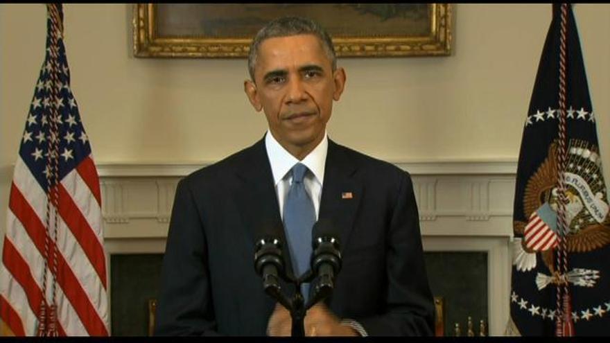 Obama durante su discurso sobre la normalización de relaciones con Cuba