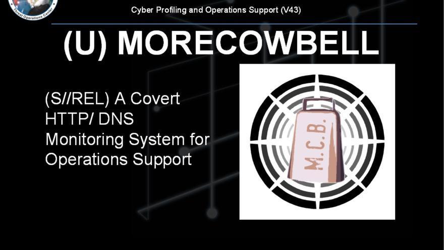 Captura de pantalla del documento de la presentación del programa MORECOWBELL de la NSA.