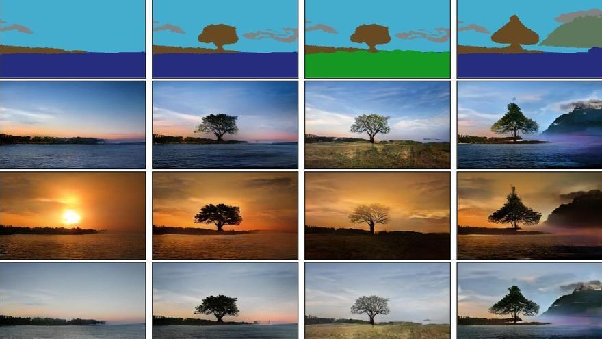 Una Inteligencia Artificial transforma garabatos en fotografías de anuncio  GauGAN-fila-superior-garabato-original_EDIIMA20190322_0827_19