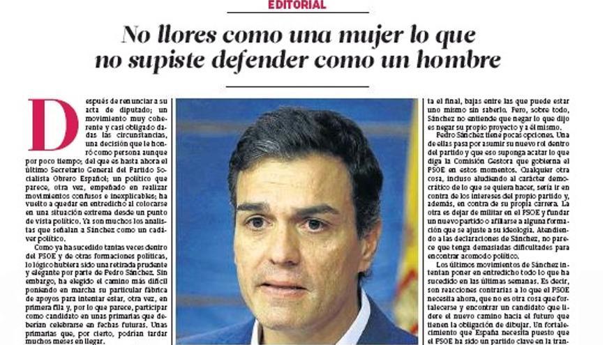 Editorial de El Correo de Andalucía sobre Pedro Sánchez