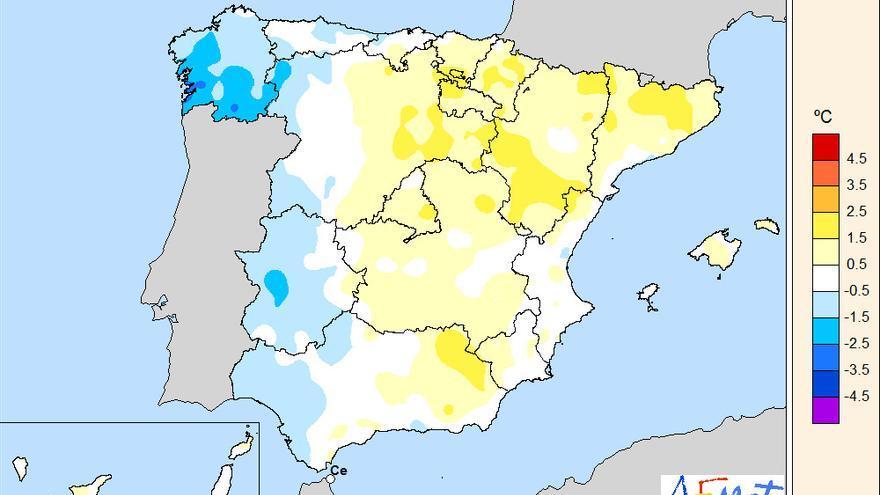 Anomalías de la temperatura junio 2019
