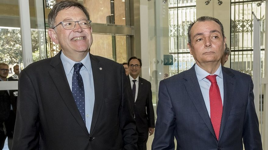 Ximo Puig, president de la Generalitat, y Salvador Navarro, presidente de la CEV