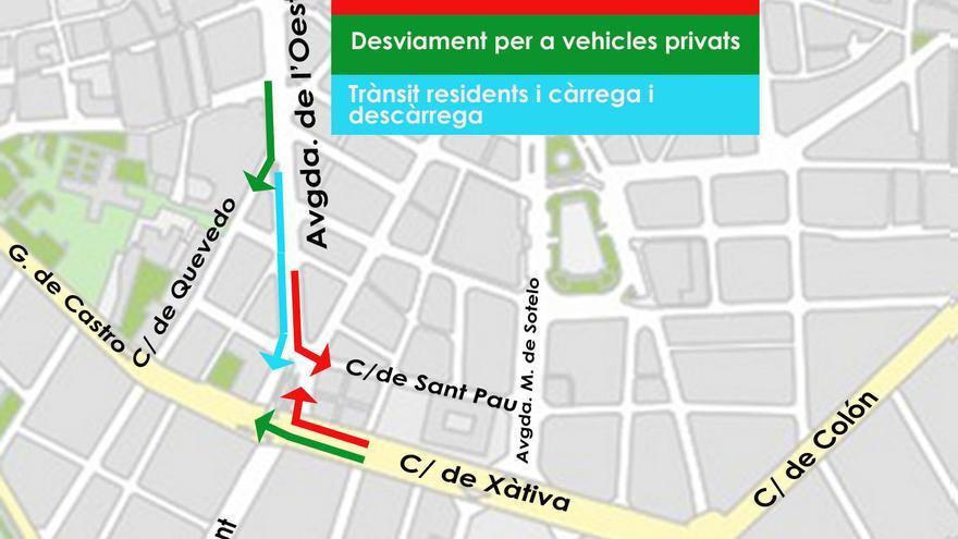 Plano del Ayuntamiento con los nuevos cortes de calles y desvíos