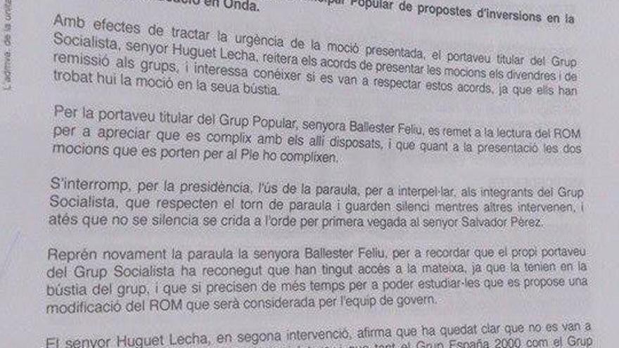 La moción sobre eduación del Partido Popular que han sacado los escolares de Onda