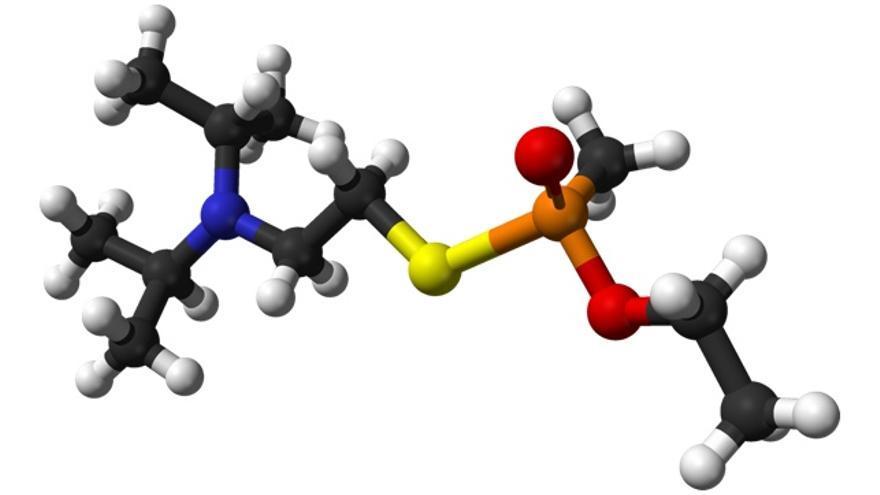 Estructura espacial de la molécula de escopolamina. Imagen 3D: Amir.ahrls