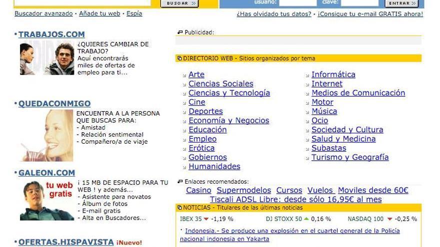 Portada del buscador de Hispavista.com de 1996