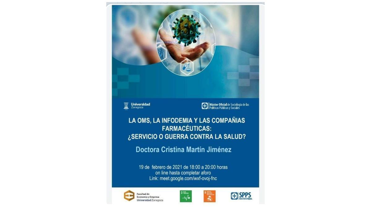 Cartel de la charla 'La OMS, la infodemia y las compañías farmacéuticas: ¿Servicio o guerra contra la salud?'