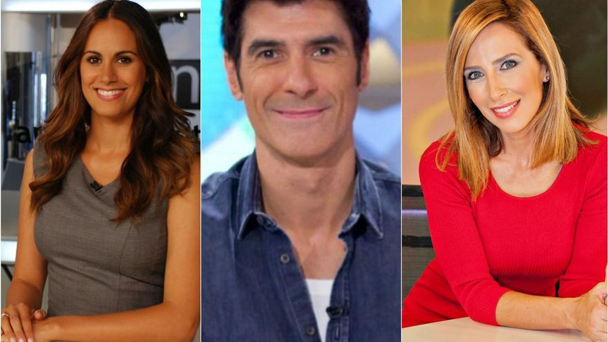 Los presentadores Vidina Espino, Jorge Fernández y Pilar Rumeu.