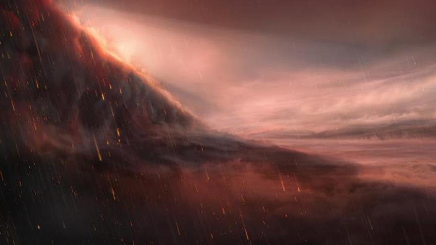 Un equipo de científicos españoles y suizos ha descubierto un exoplaneta gigante con temperaturas diurnas capaces de vaporizar el hierro, y que podría condensar en gotas de lluvia en las regiones nocturnas.