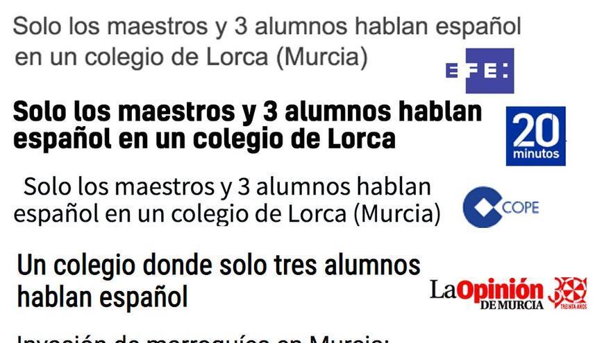 No, no es cierto que en un colegio de Lorca sólo hablen español los maestros y tres alumnos