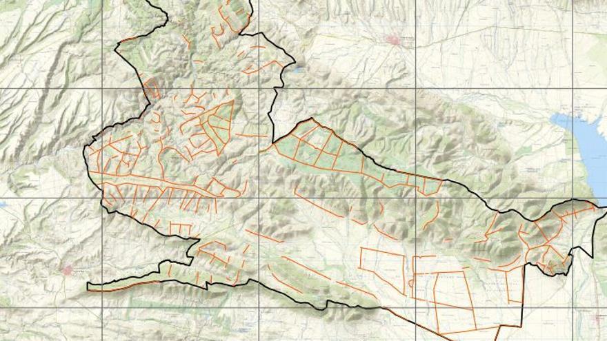 Mapa de los cortaderos en una zona del Parque Nacional de Cabañeros