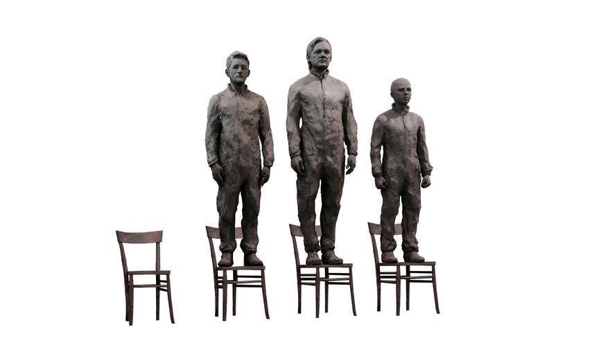 """Un monumento al coraje en Berlín, también llamada """"la santísima trinidad de los whistleblowers"""""""