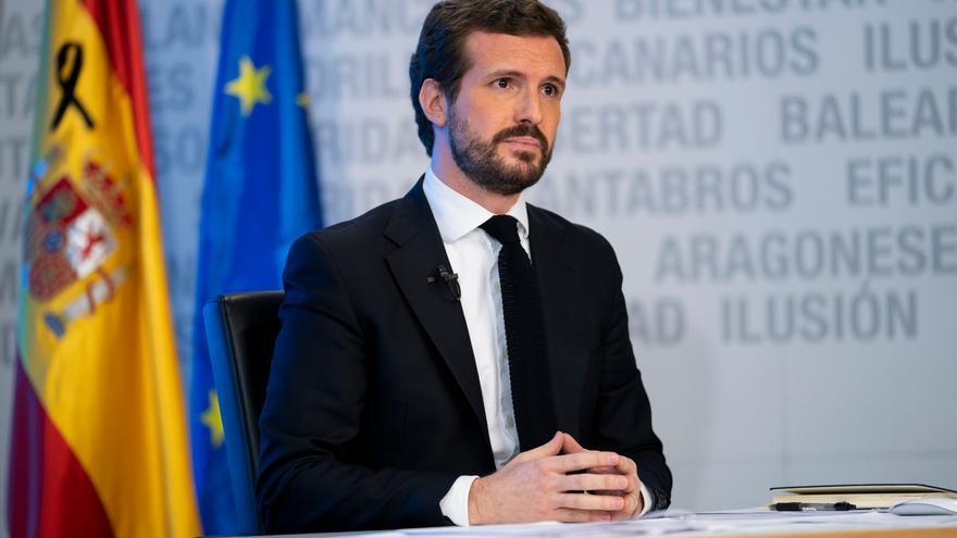 El presidente del Partido Popular, Pablo Casado, durante la rueda de prensa de este lunes.