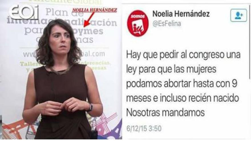 Una captura de pantalla con la fotografía de Noelia Hernández y uno de los tuits que falsamente se le atribuyen.