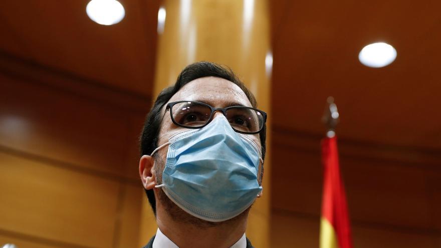 El ministro de Consumo, Alberto Garzón, este vierne ante la Comisión de Sanidad y Consumo del Senado.