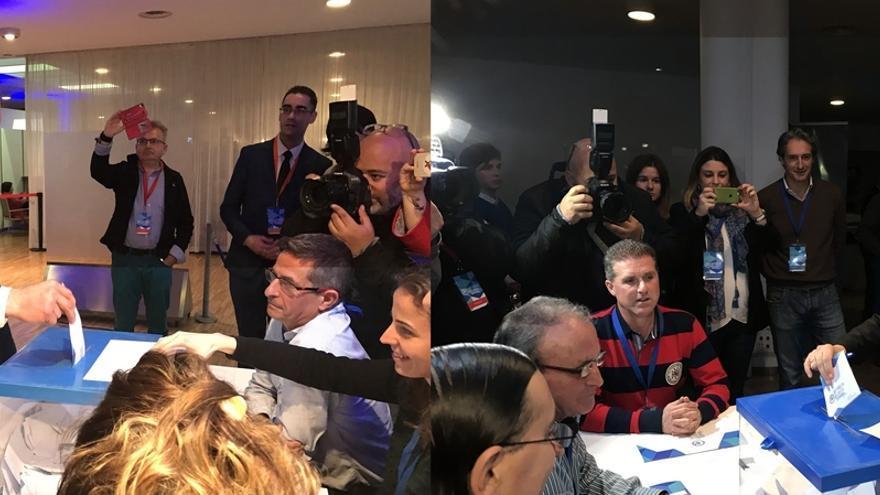 Diego y Buruaga votan entre bromas y guiños a los miembros de las mesas del Congreso del PP
