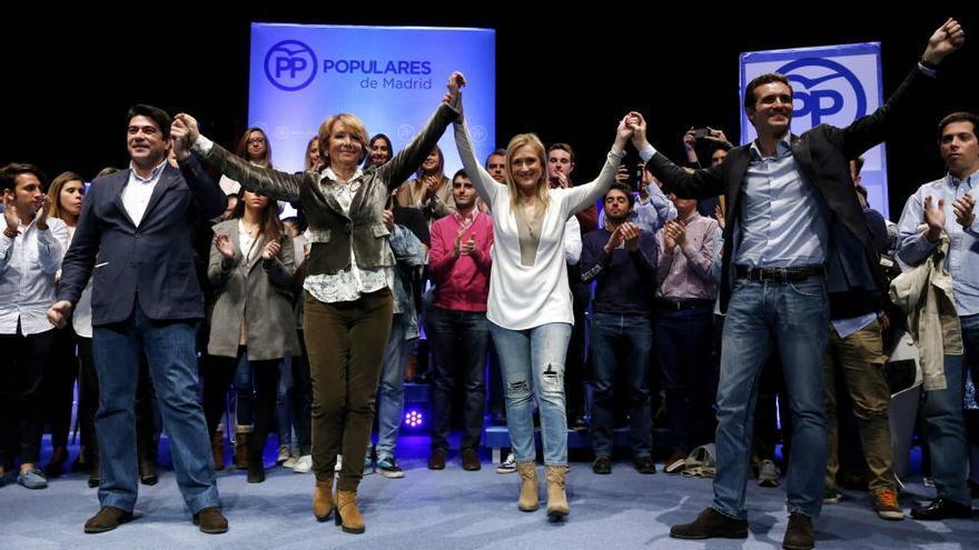 David Pérez, Esperanza Aguirre, Cristina Cifuentes y Pablo Casado, en una foto del año 2015. / EFE
