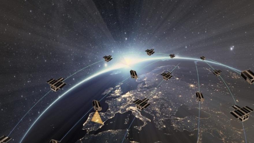 Recreación de la red de satélites diseñada por el consorcio español.