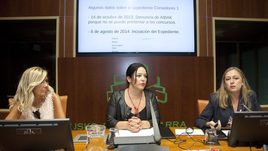 María Pilar Canedo, a la derecha, y Larraitz Ugarte, en el centro, en la comisión de investigación del Parlamento Vasco