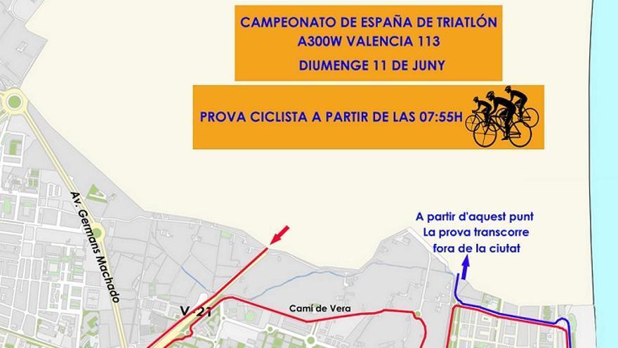 Itinerario de la prueba ciclista del Triatlón