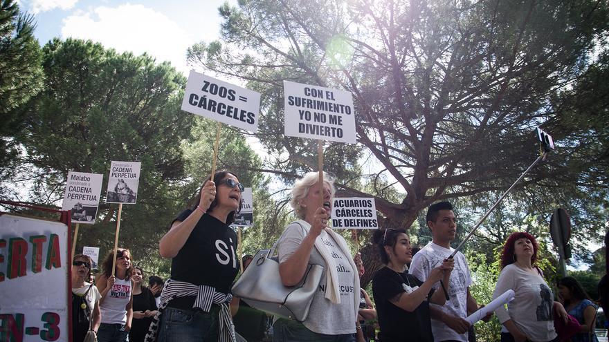 Protesta ante el Zoo Aquarium de Madrid el pasado 18 de junio. Foto: Ruth Montiel Arias