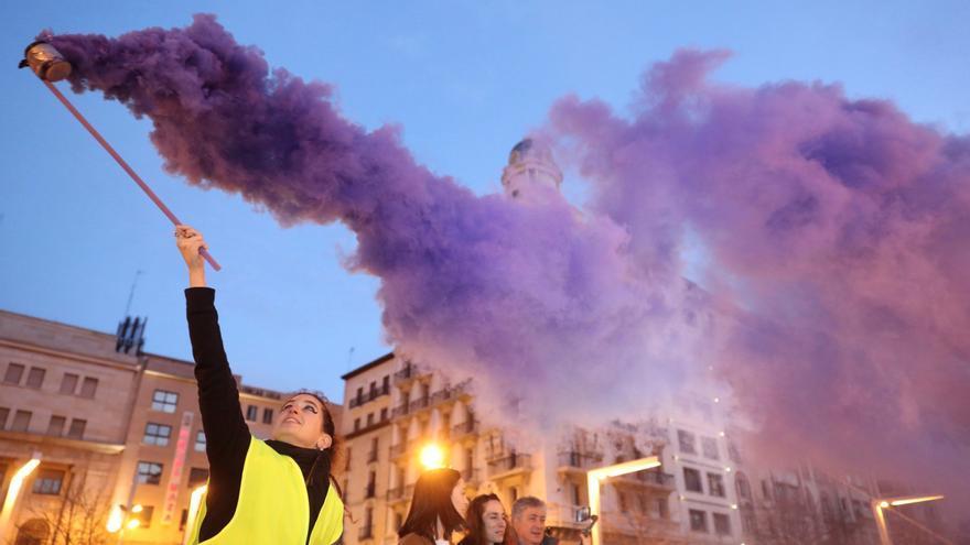 Un momento de la manifestación del pasado año por el 8M, en Zaragoza.