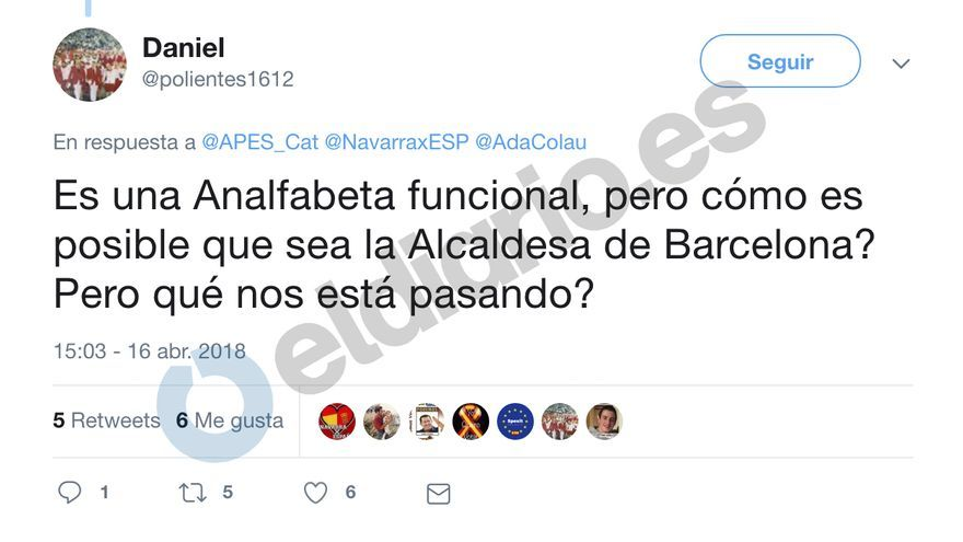 Tuit de Daniel Rodríguez sobre Ada Colau.