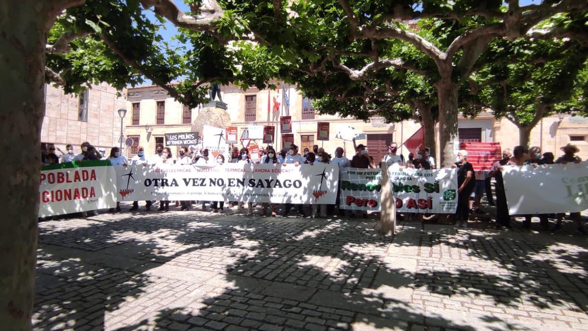 La manifestación de Zamora contra los macroproyectos eólicos.
