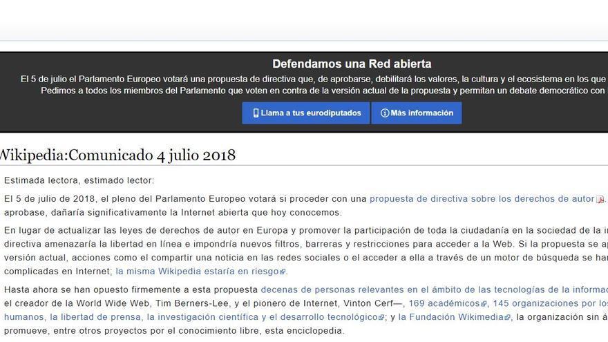 Wikipedia bloquea temporalmente su web ante la votación en el Parlamento Europeo de la directiva sobre el copyright.