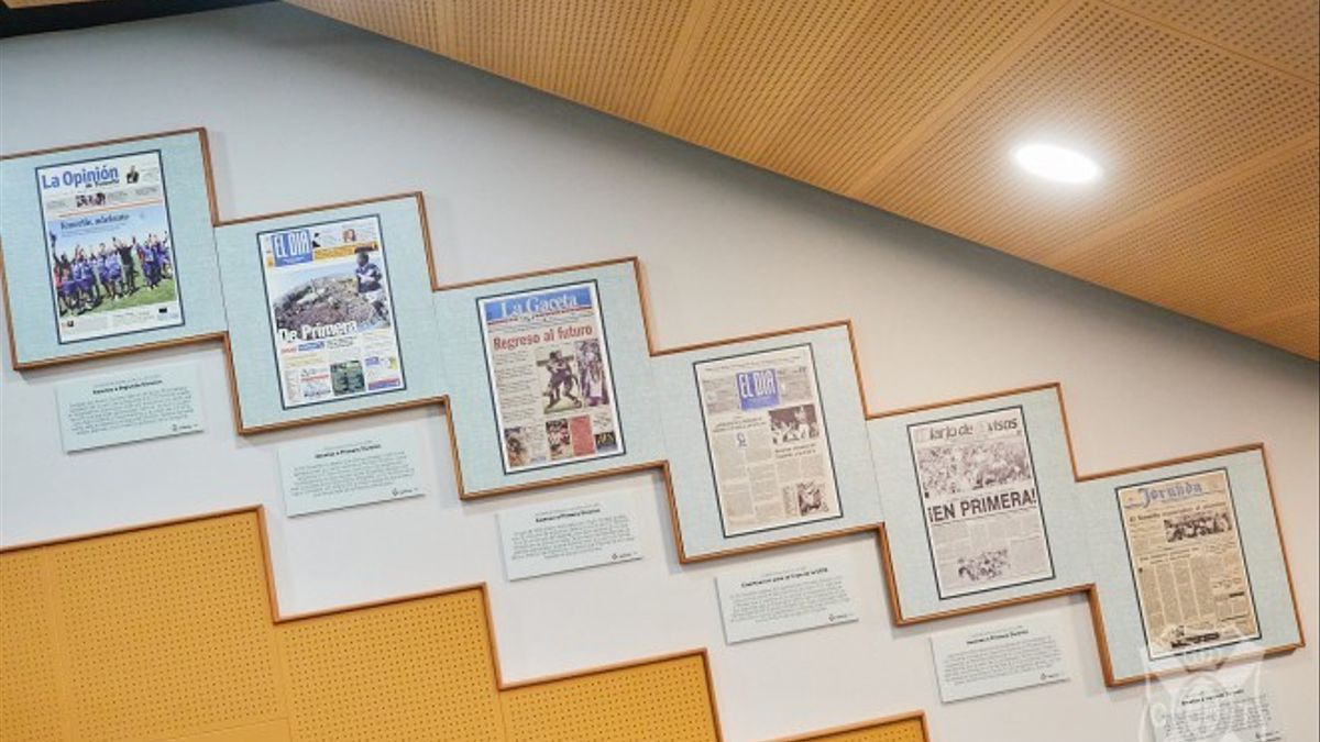 Aspecto de los paneles colocados en la sala de prensa del Heliodoro Rodríguez López