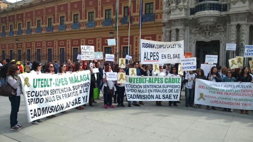 ALPE y monitores reprochan que ni PP ni PSOE ni Junta les atienda al paso de su marcha por Sevilla y prevén más acciones