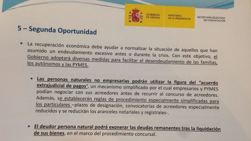 DOCUMENTO repartido tras el discurso de Mariano Rajoy tras el debate del estado de la nación 2015