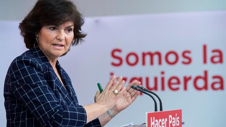 La responsable de Igualdad del PSOE, Carmen Calvo.