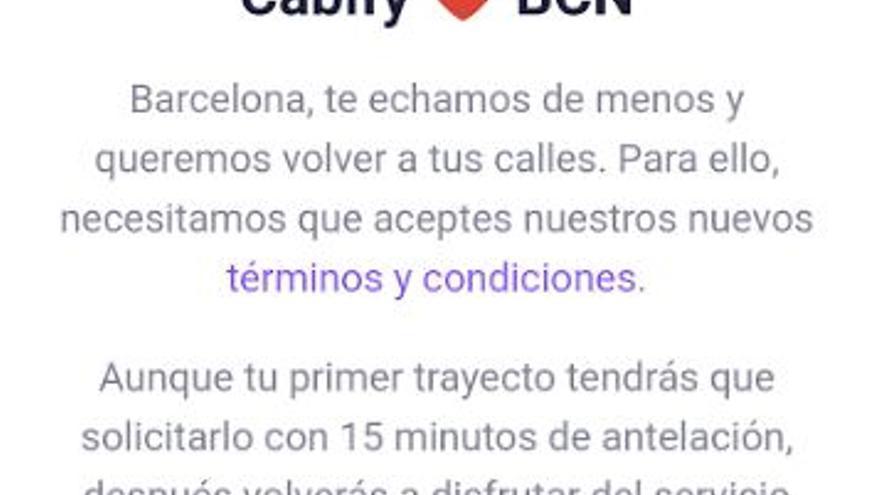 Cabify informa a sus usuarios que los 15 minutos de precontratación sólo se cumplirán en el primer servicio