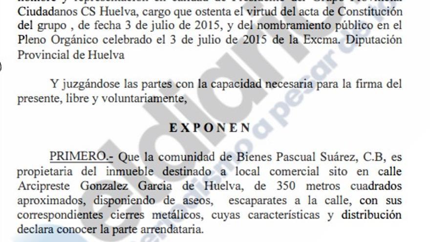 Extracto del contrato de alquiler firmado por el grupo Ciudadanos en la Diputación Provincial de Huelva.