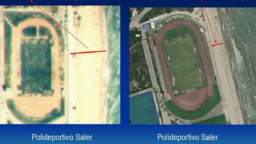 Evolución de la línea de playa junto al antiguo polideportivo del Saler entre 1986 y 2009