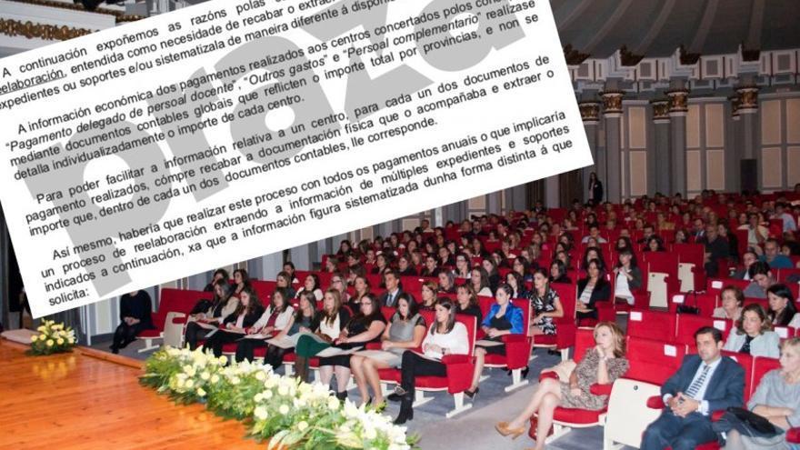 Acto de inicio de curso en el colegio femenino vigués Aloya y fragmento de la respuesta de la Xunta